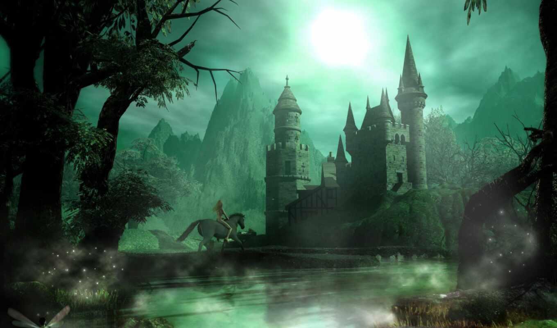 фентези, замок, замки, castle, ночь, широкоформатные, ilustraciones, play,