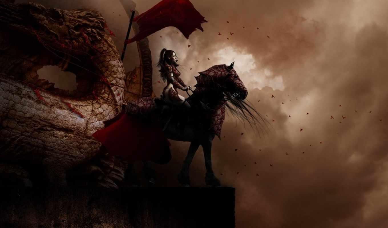 картинка, fantasy, дракон, наездница,