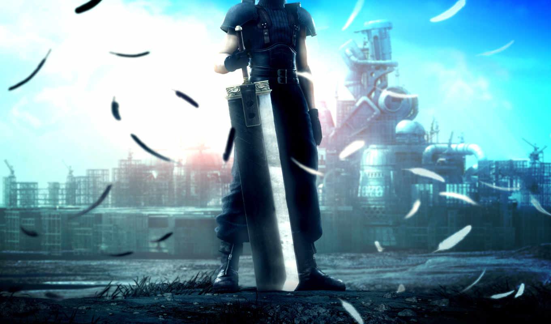 core, game, аниме, меч, fantasy, final, psp, square, crisis, vii, enix, hebus,