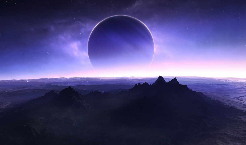 планеты, поверхность, звезды, спутник, hintergrundbilder, planète, horizon, ecran, планета, fonds, смотрите, eclipse, horizont, am, кнопкой, правой, картинка,