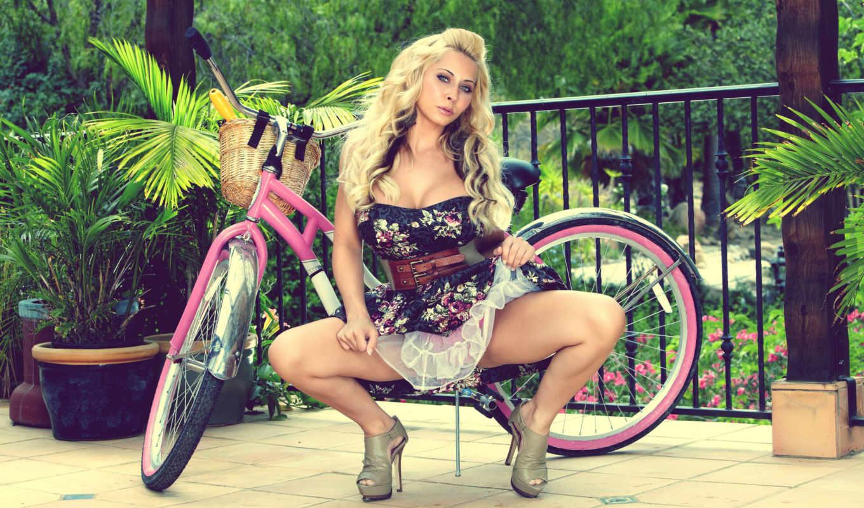 блондинка, голая, девушка, велосипед, розовый,