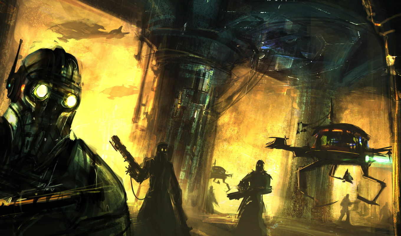 фэнтези, оружие, наемники, люди, robot, колонны,