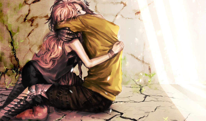 art, парень, девушка, genki, love, картинка, обьятия, стены,