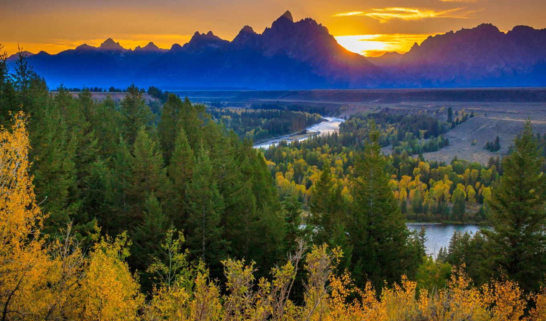 река, осень, лес, горы, закат, sun,
