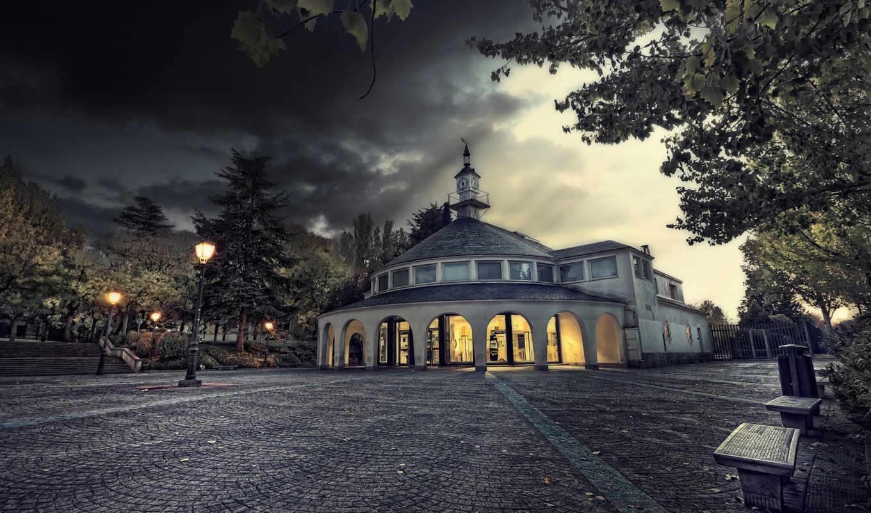 брусчатка, chapel, испания, площадь, дерево, вечер, листва,