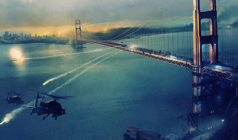 war, оружие, огонь, красивые, мост, san, взрывы, коллекция, вертолеты, gate,