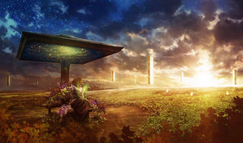 колонны, девочка, растения, закат, сюрреализм, цветы, фея, крылья, надписи, картинка, картинку,