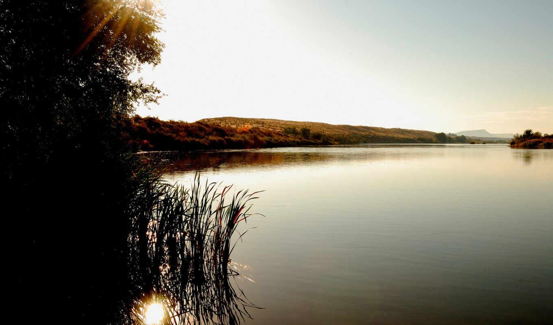 озеро, закат, куст, изображение, лучи, берег, дерево, холмы, камыш, камыши, природа, озера, деревья, солнца, een, рассвет, картинку, các,