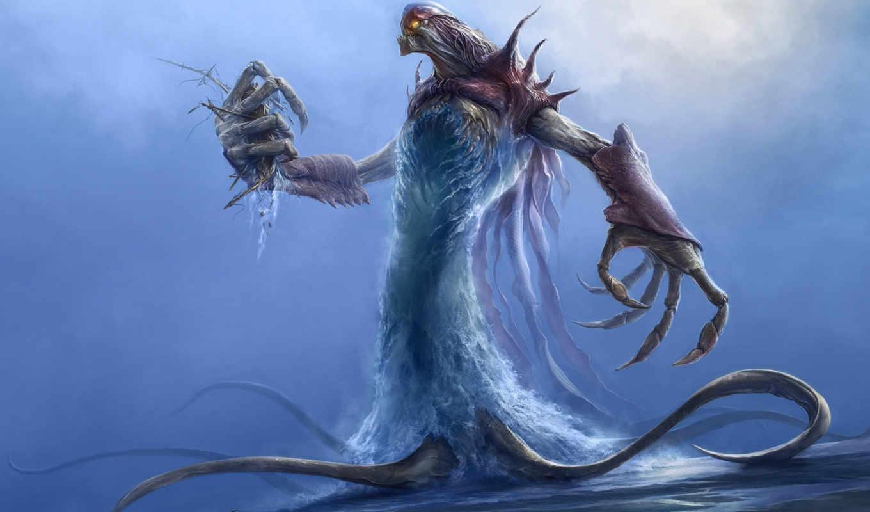 monster, water, fantasy,