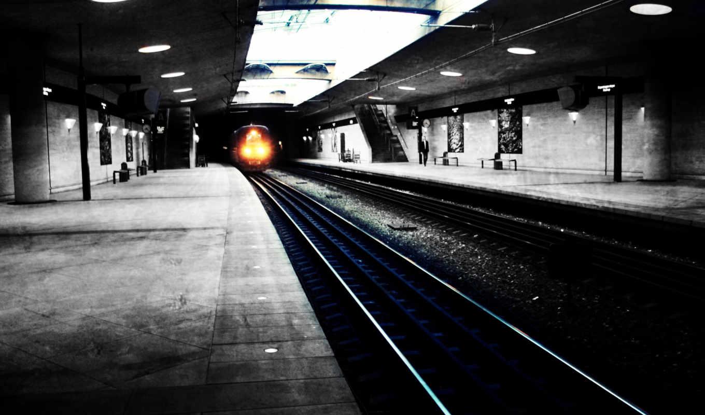 metro, поезд, город, подземка, свет, рельсы,