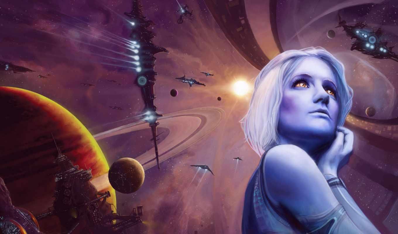 космос, девушка, планеты, станция, корабли,