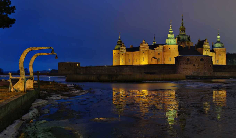 kalmar, sweden, castle, город, ночь, squid, река