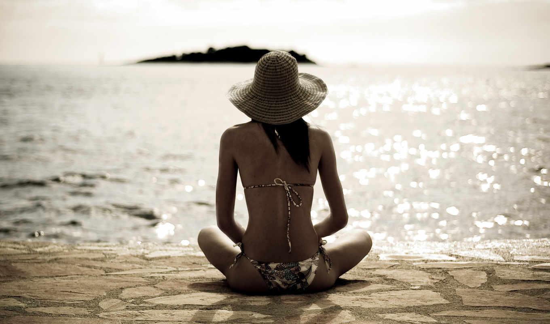 лето, пляж, девушка, море, солнышко, настроение, релаксация, ностальгия, картинка, картинку,