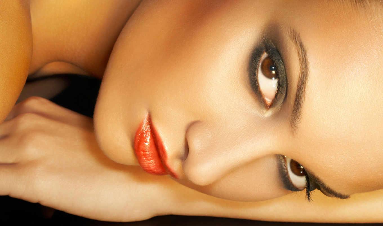 глаз, красивая, женщины, уход, за, самая, женщина, макияж, глазами,