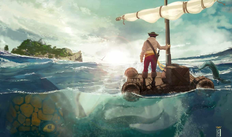 море, мужчина, art, остров, спрут, плот, monster, danger,