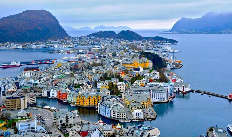 alesund, норвегия, горы, город, camping, олесунн, ford, порт, здания,