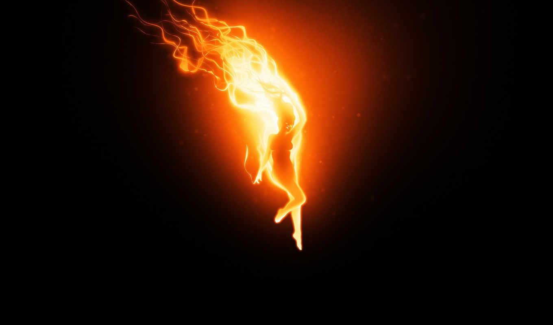 огонь, девушка, пламя, black,