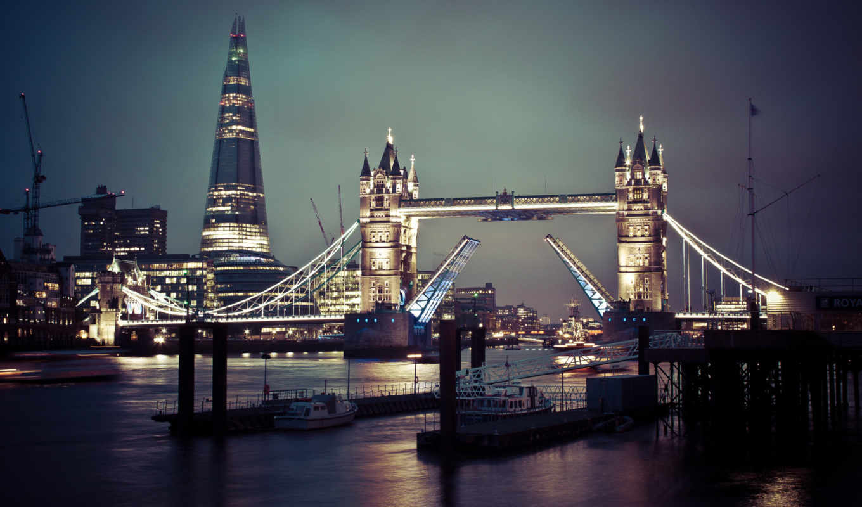мост, башня, ночь, london,