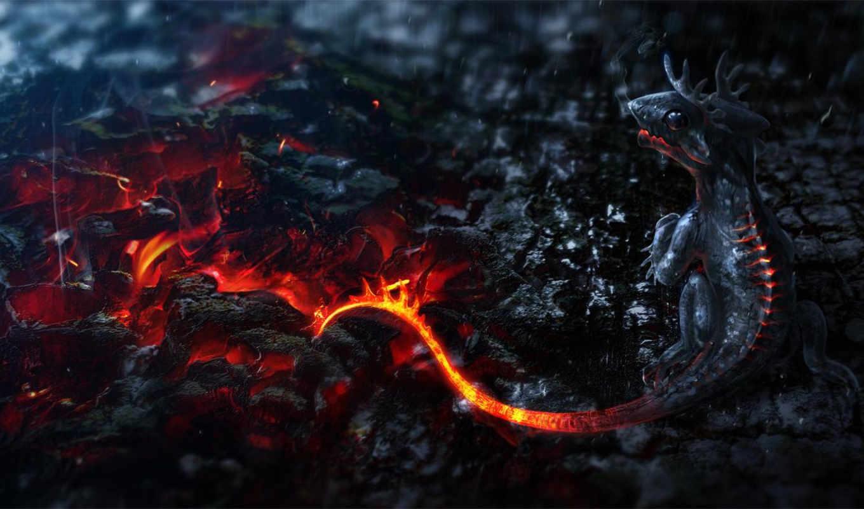 огонь, дракон, fantasy, текстуры,