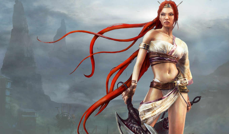волосы, рыжие, девушка, devushki, воин, heavenly, меч, мечи, туман, волосами, горы,