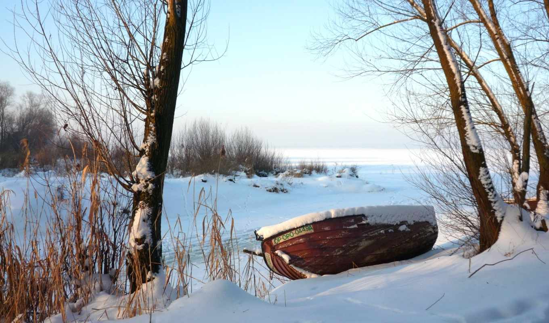 winter, jezioro, zima, pulpit, drzewa, tapety, картинка, łódz, река,