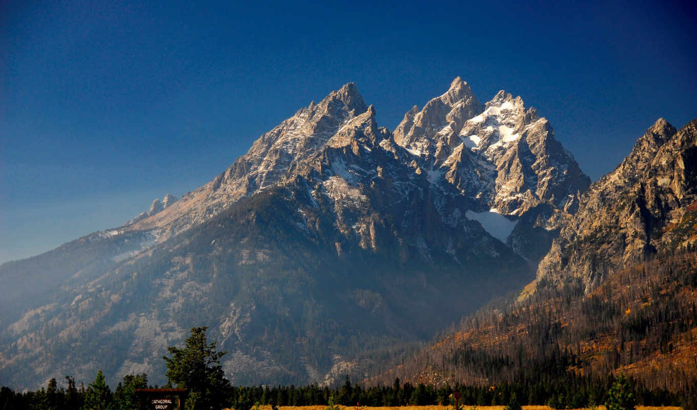 горы, красивые, синий, снег, небо, big, mountain,
