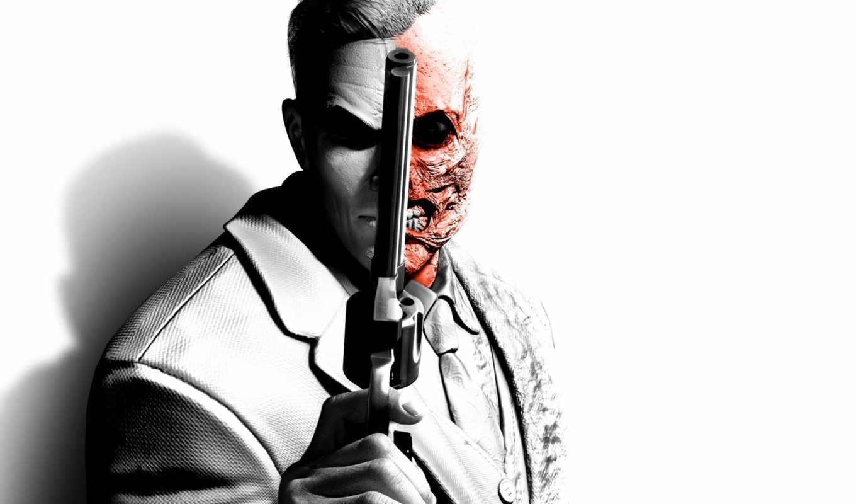 batman, arkham, city, two, face, faces, двуликий, револьвер,