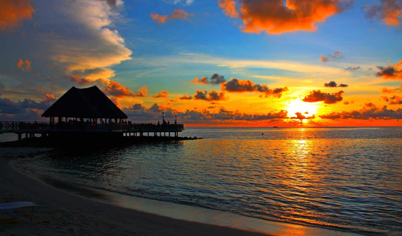 закат, разных, мальдивы, фотографии, красивых, море, бора, бунгало, планеты, уголках, красочный, видео, тропики,