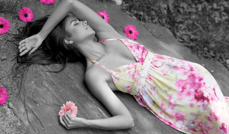 девушки, девушка, цветы, цветами, платье,