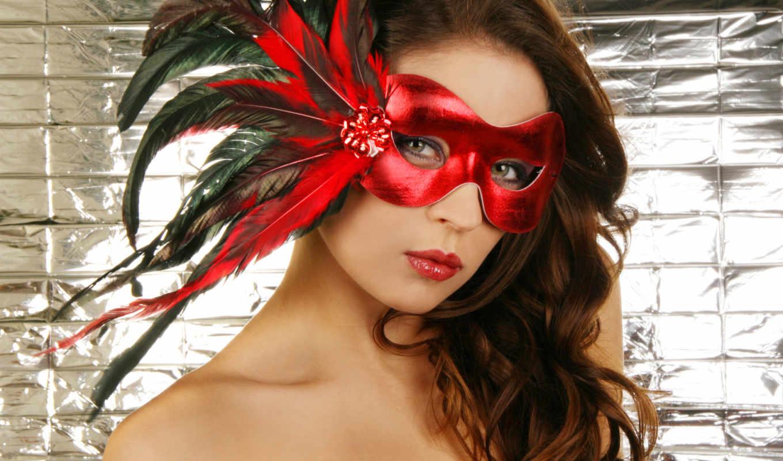 маска, перья, девушка, red, mystery,