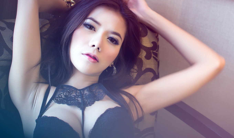 ,девушка, sexy,китаянка,черное белье,