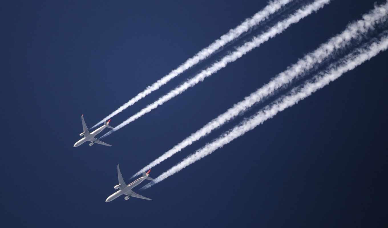 небо, след, commercial, самолёт, planes,