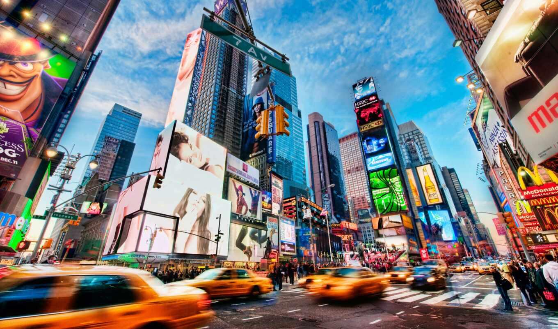 square, таймс, new, город, york,