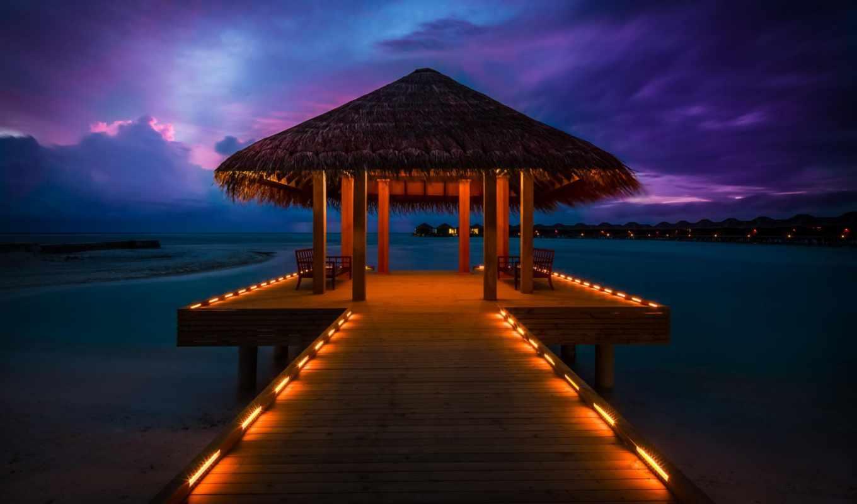 бунгало, часть, maldives, коллекция, pier, разное, закат, ocean, collector,