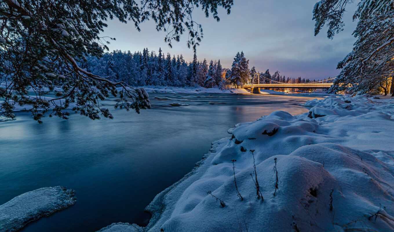 финляндия, winter, река, лес, фон, природа, фото, снег, iphone