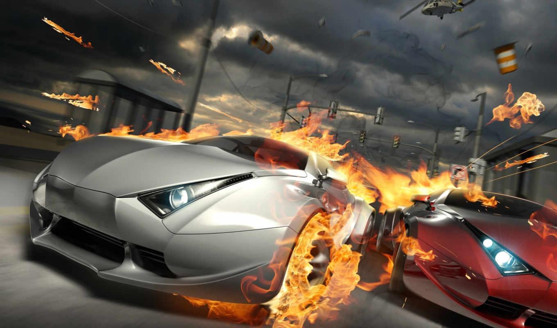 split, second, гонка, огонь, car, картинка, iphone, destructive,