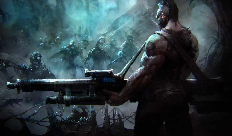 зомби, совершенно, свой, оружие, роботы, art,