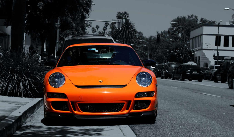 porsche, оранжевый, автомобили, mercedes,