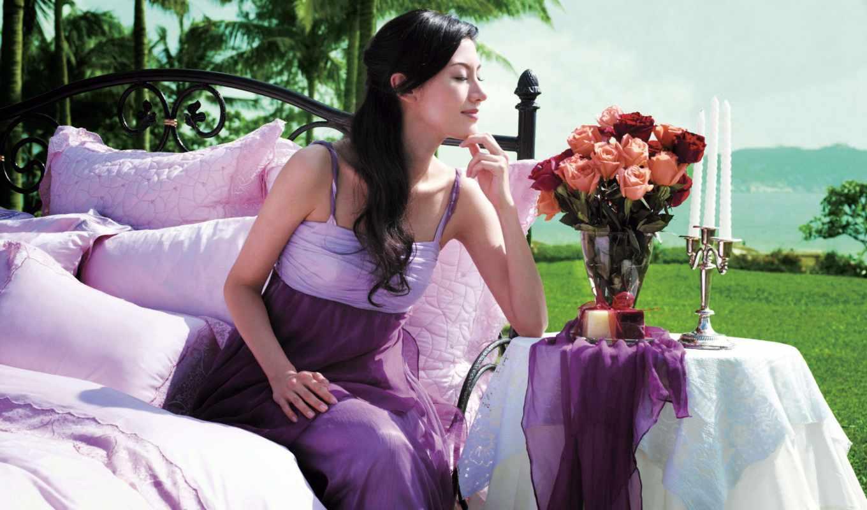 взгляд, arterton, bmw, романтика, gemma, кровать, спальная, свечи, белое, девушка,