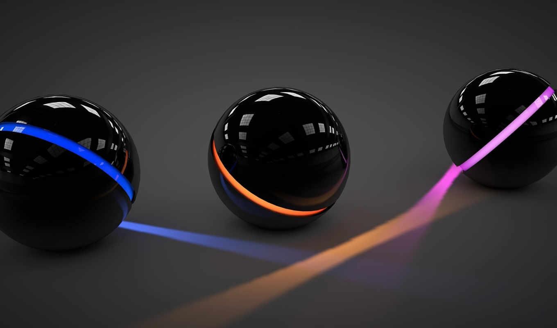 шары, три, свет, линии, сферы, арт, розовый, отражение,