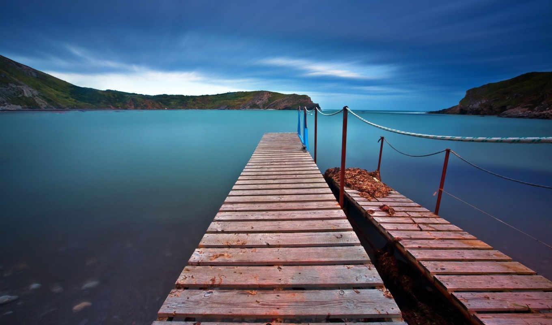 , ipad, pier, wooden, free,