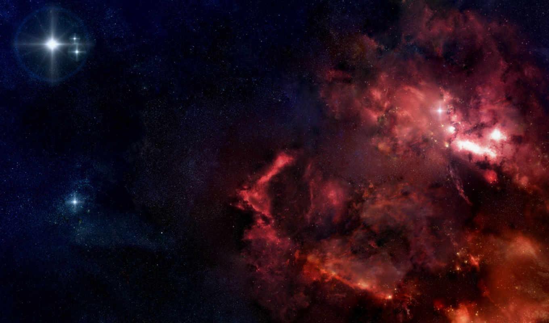 space, desktop, art, free, галактики, туманности, звезды, космоса, картинку, красные, digital,