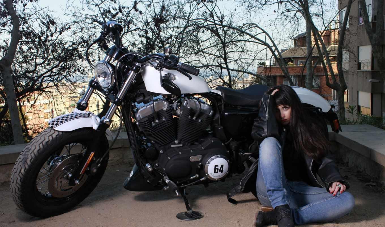 pictures, девушка, улица, мотоцикл,