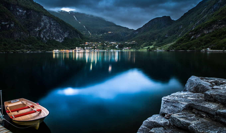 norwegian, geiranger, норвегия, fjord, горы, озеро, лодка, норвегии, lakes, природа,