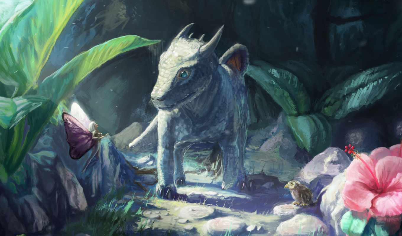 дракончик, art, дракон, фея, лягушка, птица, детёныш, лес, камни, fantasy,