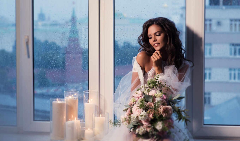 девушка, цветы, поза, стиль, pazlyi, платье, wed, букет, decoration, свет, свеча