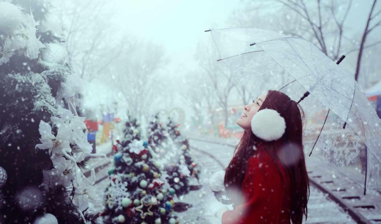 новый год, снег, елки, украшения, девушка, зонтик, наушники