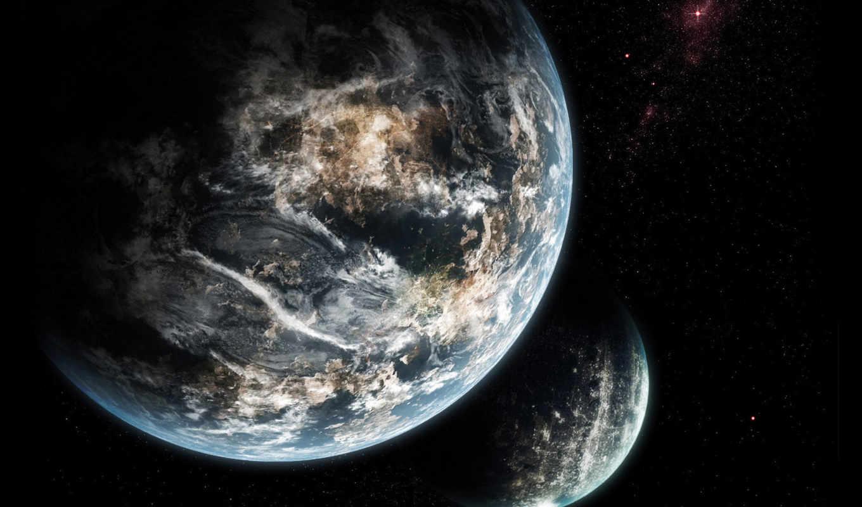 earth, space, dark, planets, graphics, cosmos, stars, galaxy, космоса, normal, desktop,