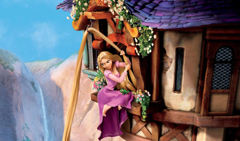 рапунцель, замок, принцесса, волосы, паскаль, горы, башня, запутанная, история, златовласка, окна, хамелеон, цветы, небо,