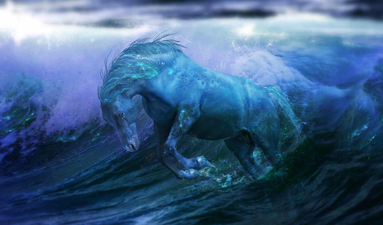 лошадь, синяя, fantasy, ocean, water,